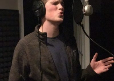 Matt recording the vocals to California Cottonfields