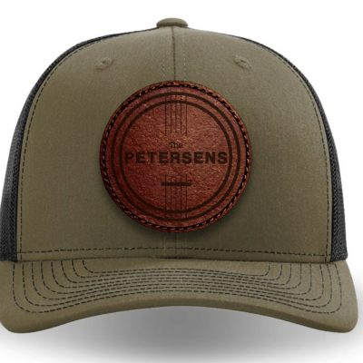 loden leather patch trucker hat