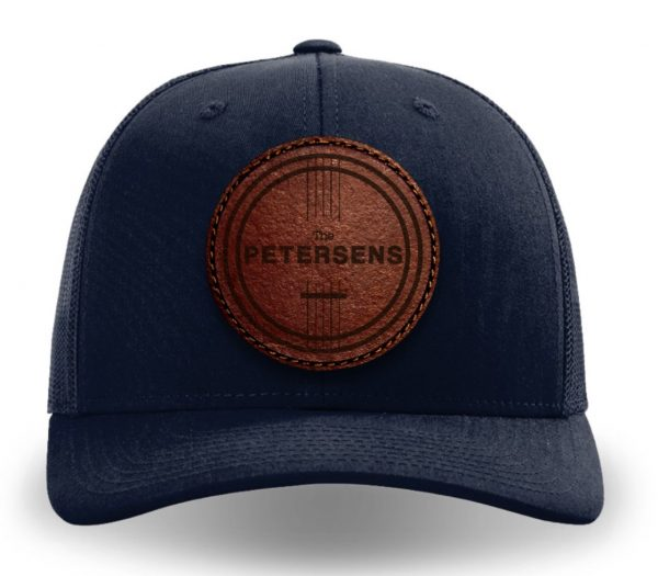 navy leather patch trucker cap